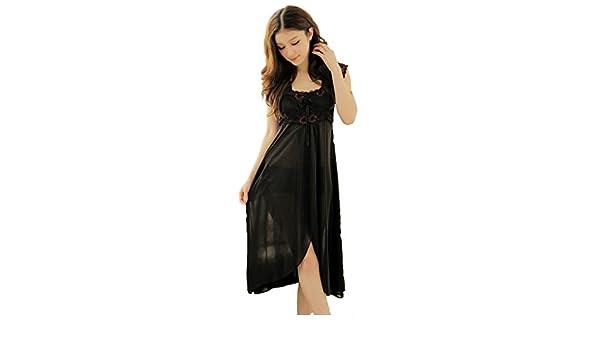 YICHUN Women s Pyjama Sexy Long Sleepwear Nightgown Retro Lace Bow  Nightdress (Black)  Amazon.co.uk  Clothing 9db10e5b5
