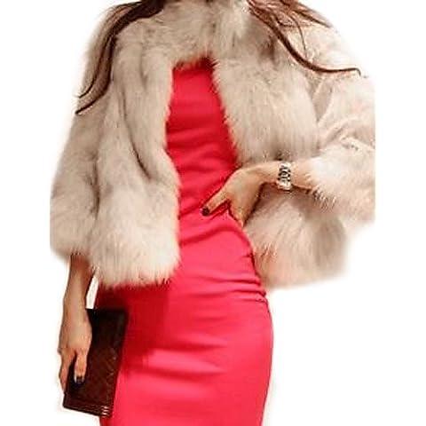 Donna formale / Club Sexy Pelliccia,solido collare permanente manica ¾ Autunno / Inverno marrone con (3 4 Camice Lunghezza)