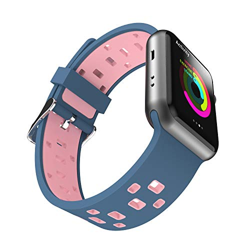 Chok Idea Strap Compatible with Apple Watch Armband 42mm 44mm,Atmungsaktiv Two-Tone Style Soft Silikon Sport Ersatzband Replacement for iWatch Series 4 3/2/1,Blue-Rose -