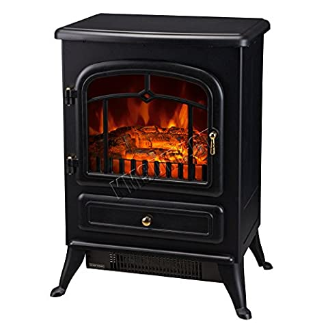FoxHunter New Log Burning Flame Effect Electric Stove Fire Place Fires Fireplace Heater 1850W Max Output 2 Heat Settings Black Cast Iron Effect Finish Freestanding ND-180ML