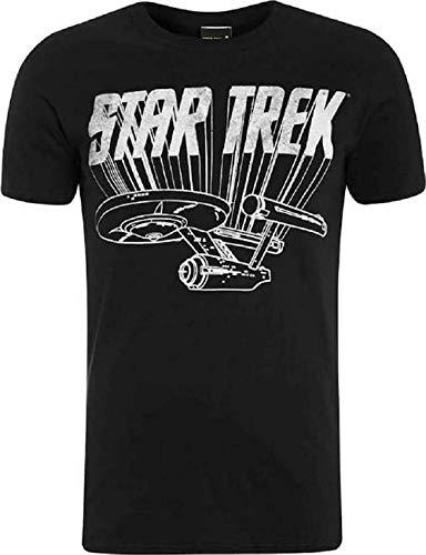 Star Trek - Original Enterprise Desgastado - Oficial Camiseta para Hombre - Negro, XXL