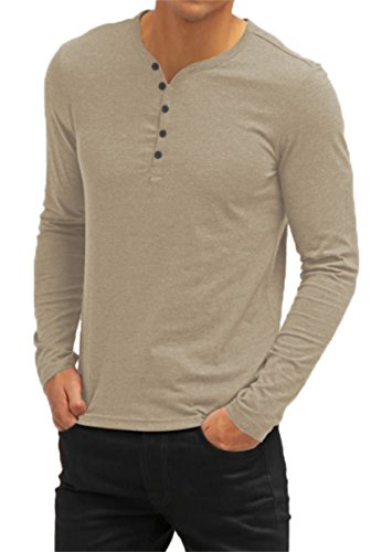 AIYINO Herren Casual T-Shirt mit V-Ausschnitt Kontrast 100% Baumwolle Cardigan (Large, Langarm-Khaki)