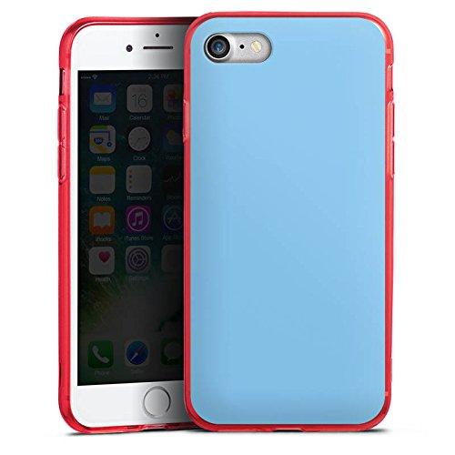 Apple iPhone 8 Silikon Hülle Case Schutzhülle Eisblau Blau Blue Silikon Colour Case rot