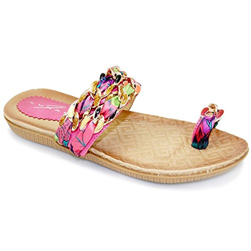 Fantasia Boutique - comoda sandali con cinghie e dita con passante, multicolore Rosa