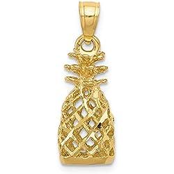 DIAMOND2DEAL INC Colgante de piña 3D de Oro Amarillo de 14 Quilates con Corte de Diamante