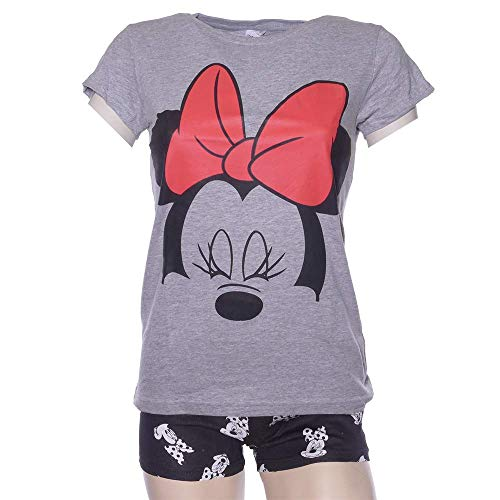 Schlafanzug Damen Pyjama kurz Disney Minnie Mouse Shorty Set - Grau/Schwarz (M)