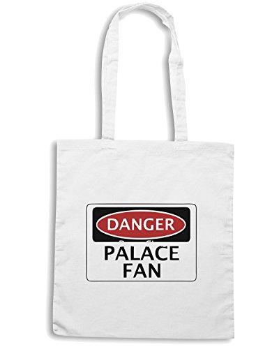 T-Shirtshock - Borsa Shopping WC0290 DANGER CRYSTAL PALACE, PALACE FAN, FOOTBALL FUNNY FAKE SAFETY SIGN Bianco