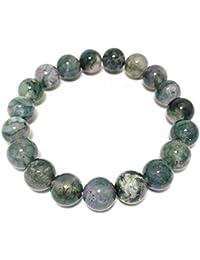 Saubhagya Global Moss Agate Bracelet | 8mm Bead Lab Certified Bracelet For Daily Wear/ Office Wear/ Party Wear...