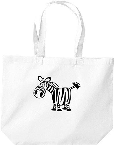 grande borsa della spesa, SHOPPER FUNNY ANIMALE ZEBRA Bianco
