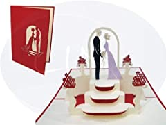 Idea Regalo - LIN Biglietti di auguri/inviti di Matrimonio 3D Pop Up, anche per San Valentino, Rosso