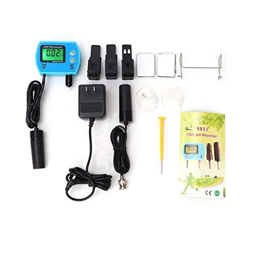 PH TDS Meter, 2 in 1 Wassertester Neuer Wasserqualitätsdetektor PH/TDS Messgerät PH/TDS Analysator Online Monitor 100-240V,Messbereich pH: 0,00~14,00 pH,TDS: 0,00~19,99 ppm,viel Zubehör(eu) -