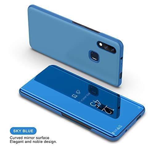 Funda para Xiaomi Mi MAX 3 Estuche Espejo Elegante Cover de Función Inteligente Case para Dormir Despertar Vista Inteligente Carcasa para Xiaomi Mi MAX 3(Azul)