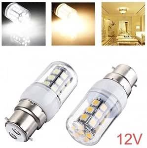 Aileming B22 6-5730 SMD LED Bayonet Cap Light Bulb 3W Restaurant Office Home for Energy-Saving Bulbs AC12V DC12-24V Warm White Pack of 2