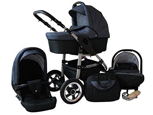 Lux4Kids Avaro Kinderwagen Komplettset (Autositz & Adapter, Regenschutz, Moskitonetz, Schwenkräder) 76 Black & Grey