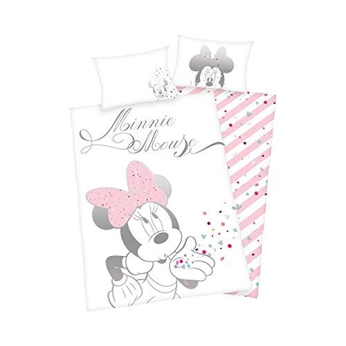 Herding Disney Minnie Mouse Kleinkinder-Bettwäsche-Set, Baumwolle, Weiß/Rosa, 135 x 100 cm