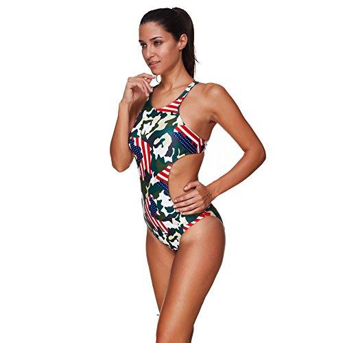 FeelinGirl Damen Helle Farbe Bademode Neckholde Badeanzug Top Push Up Bikini Set Bunt