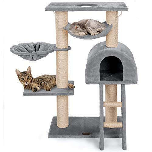 Happypet® Kratzbaum für Katzen klein 100 cm hoch, CAT018, platzsparender Kletterbaum Katzenbaum, extra Dicke und stabile Säulen mit Natur-Sisal ca. 9 cm, Liegemulde, Haus, Treppe, Hängematte, GRAU