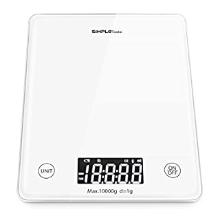 SimpleTaste Professional Touch Digital Kitchen Scale, Electronic Home Scale, Elegant White Tempered Glass, Weight Max 10000g 22lbs, White