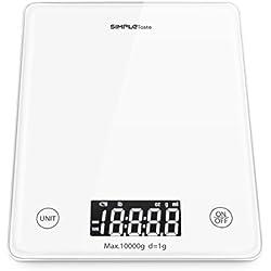 Simpletaste 10kg/22lb Bilancia da Cucina Digitale per Casa e Alimenti con LCD display, Funzione Tara, Autospegnimento, Vetro Temperato Bianca