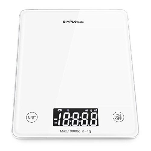SimpleTaste Digitale Küchenwaage, Digitalwaage Kueche, Haushaltswaage, Maximalgewicht 10KG/22lbs, Tara-Funktion, Gehärtetes Glas, Weiß