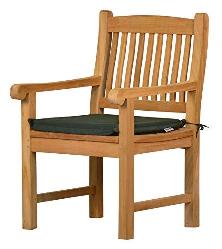 2 x Stuhlauflage aus lichtechtem Dralon – 50 x 45cm, dunkelgrün  Waschbar  Hoher Sitzkomfort...