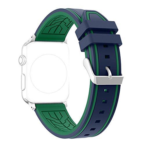 Nike-monitor-armband (Armband für Apple Watch 42MM, Rosa Schleife Soft Silikon Ersatzband iWatch Sport Straps Wristband Bracelet Armband Uhrenarmband mit Edelstahl Schnalle für Apple Watch 42MM Blau & Grün)