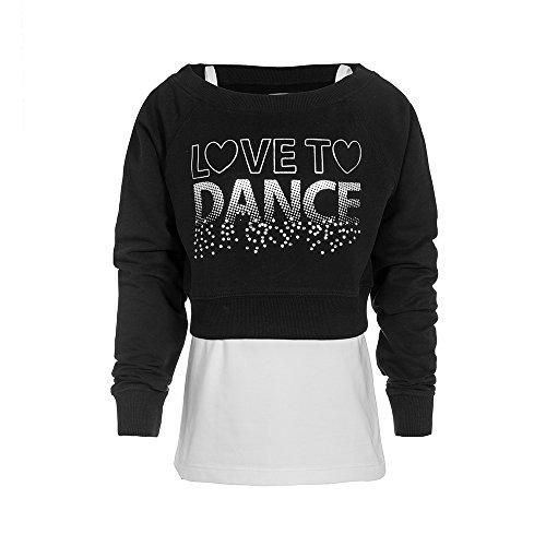 """Kinder Tanz Top (Brody & Co., Mädchen-Sweatshirt/Unterhemd-Combo, mit silbernem Brustaufdruck """"Love To Dance"""" und Strasssteinen, zum Tanz, Training und Fitness Gr. Alter 9/10, schwarz)"""