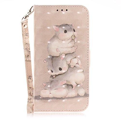 vingarshern Hülle für DOOGEE Y300 Schutzhülle Etui Tasche Klappbares Magnetverschluss Lederhülle Flip Case Handytasche Doogee Y300 Hülle Leder Brieftasche MEHRWEG(Hamsters)