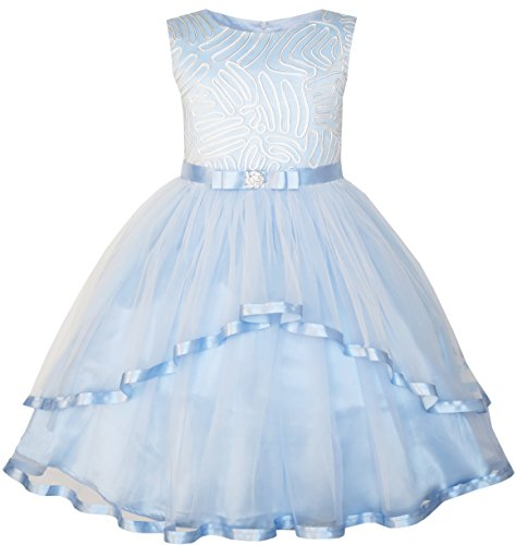 Sunny Fashion Flower Girls Dress Blue Belted Wedding Party Bridesmaid Age 4-12 Years
