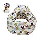 Casco de seguridad para niños para niños cascos de protección infantil de protección Arneses casquillo ajustable Impreso Protector de cabeza linda del protector del patrón del ratón lindo (azul)