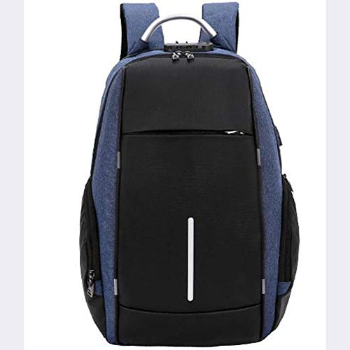 Cotone e lino ricarica spalla zaino affari borsa per laptop,blue