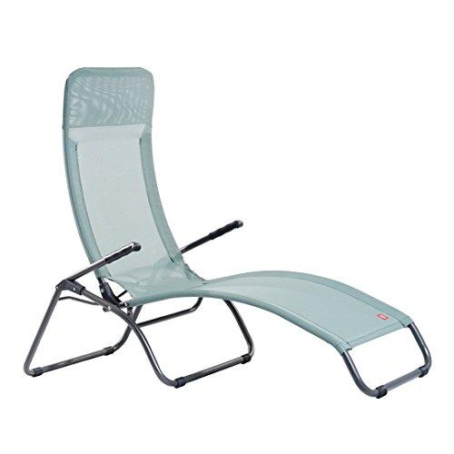 Fiam lettino mod. samba poltrona prendisole acciaio verniciato da esterno mare spiaggia piscina giardino campeggio col.verde chiaro - made in italy