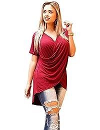Blusas Mujer Sexy, Blusas Mujer Elegantes, Camisetas Mujer Manga Corta, Blusa de la Camiseta asimétrica del Color sólido del V-Cuello Ocasional de Las Mujeres para el Verano