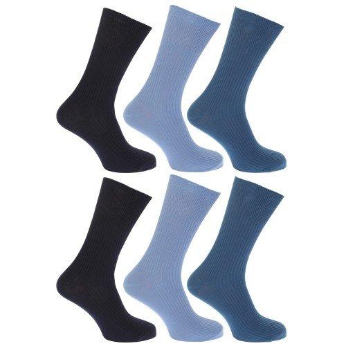 Floso Calcetines lisos acanalados sin goma o elástico 100% algodón para hombre/caballero - Pack de 6 pares de calcetines (39-45 EUR/Tonalidades de azul)