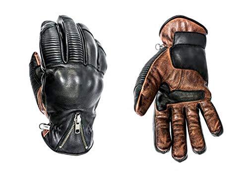 HELSTONS - Guanti da moto Dock invernali, in pelle, colore: nero/cammello, T11