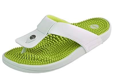 Kenkoh, le flip flop de massage de réflexologie japonaise pour femmes, crème verte, Taille EU 36