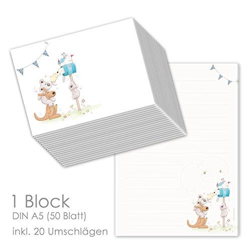 """Schreibblock/Briefblock""""POST FÜR DICH"""" DIN A5 (liniert 50 Blatt) inklusive 20 passenden Umschlägen/Briefpapier Set"""