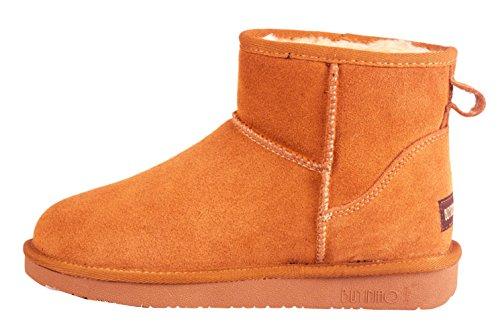 BUYINIAO Bottes femme Bottes de neige Boots de cuir hiverr Beige
