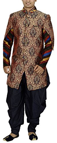 Sargam Nx Men's Brocade Fabric Sherwani (Maroon, 38)