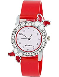 Sale Crowd Red Watch With Butterfly Dial | Stylish | Attractive Look |Casual Wear | Fashion Wear | For Girls