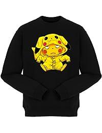 Pull Jeux Vidéo - Parodie de Pikachu de Pokémon - Une drôle de tronche :) - Pull Noir - Haute Qualité (892)