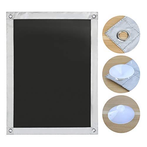 OBdeco Thermo Rollo Dachfenster Sonnenschutz Verdunkelungsrollo für Velux Hitzeschutz ohne Bohren mit Saugnäpfen (Schwarz, 60x115cm)