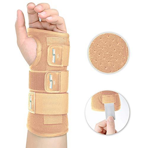 RhinoSport Handgelenk Bandagen handschiene karpaltunnelsyndrom schiene Schutzfunktion handbandage, Schmerzlinderung und die Stabilität unterstützen (Linke-Beige, M/L(17-22CM))