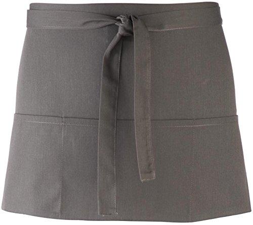 Premier Workwear Kurze Kellner Schürze ´Colours´ mit 3 Taschen für Bistro + Bar + Gastronomie + Küche PR155, Farbe:Dark Grey;Größe:One Size