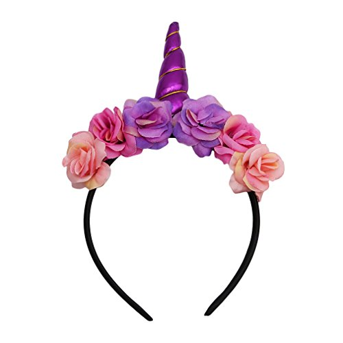 HENGSONG Niedlich Party Kostüm Einhorn Horn Haarreif Stirnband Haarband Haar Accessoire Zubehör Geschenke (Lila)