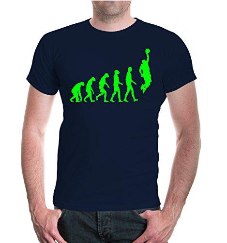 buXsbaum® Herren Unisex Kurzarm T-Shirt bedruckt The Evolution of Basketball   Dunk Korb Ballsport   M navy-neongreen Blau