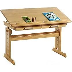 IDIMEX Bureau Enfant écolier Junior Olivia Table à Dessin réglable en Hauteur et pupitre inclinable avec 2 tiroirs en pin Massif lasuré Couleur hêtre
