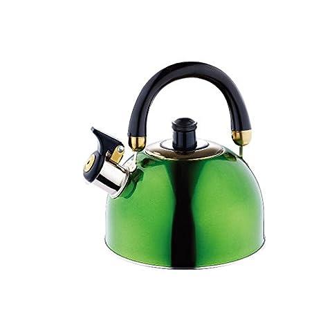 Induktion Edelstahl Wasserkessel 2 Liter (Teekessel mit Pfeifaufsatz, Flötenkessel, beweglicher Griff, (Aluminium Stahl Tee-kessel)