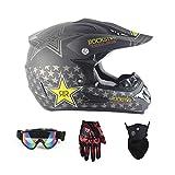 LOLIVEVE Schutzbrillen Handschuhe Gesichtsmasken Motorräder Rennwagen Cross Country Helme Weiß 5 Sterne.
