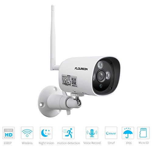 floureon 1080p wireless ip bullet telecamera, telecamera di sicurezza esterna, 2.0mp onvif p2p h.264 visione notturna a led ir cctv telecamera, ip66 impermeabile, supporta micro sd card, bianca